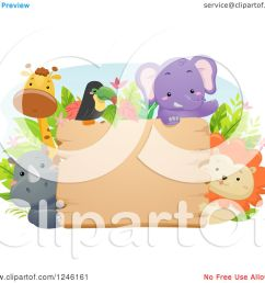 clipart of african safari animals around a wooden sign royalty free vector illustration by bnp [ 1080 x 1024 Pixel ]