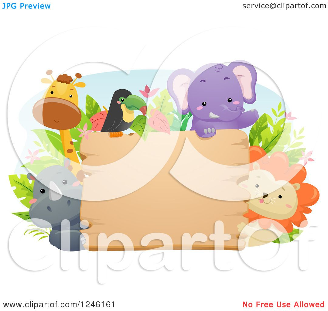 hight resolution of clipart of african safari animals around a wooden sign royalty free vector illustration by bnp