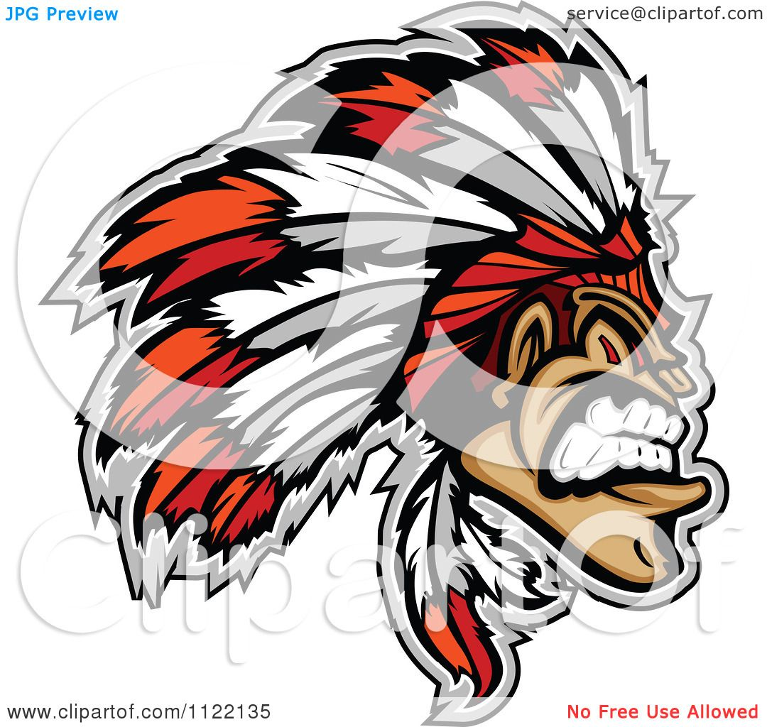 hight resolution of clipart of an aggressive native american indian chief royalty free vector illustration by chromaco