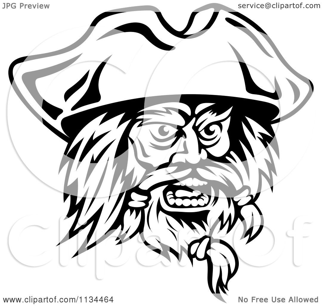 Clipart Of An Angry Black And White Pirate Face 2