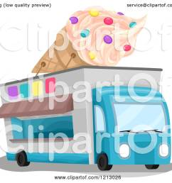 clipart of an ice cream truck with a giant cone on top royalty free vector [ 1080 x 1024 Pixel ]