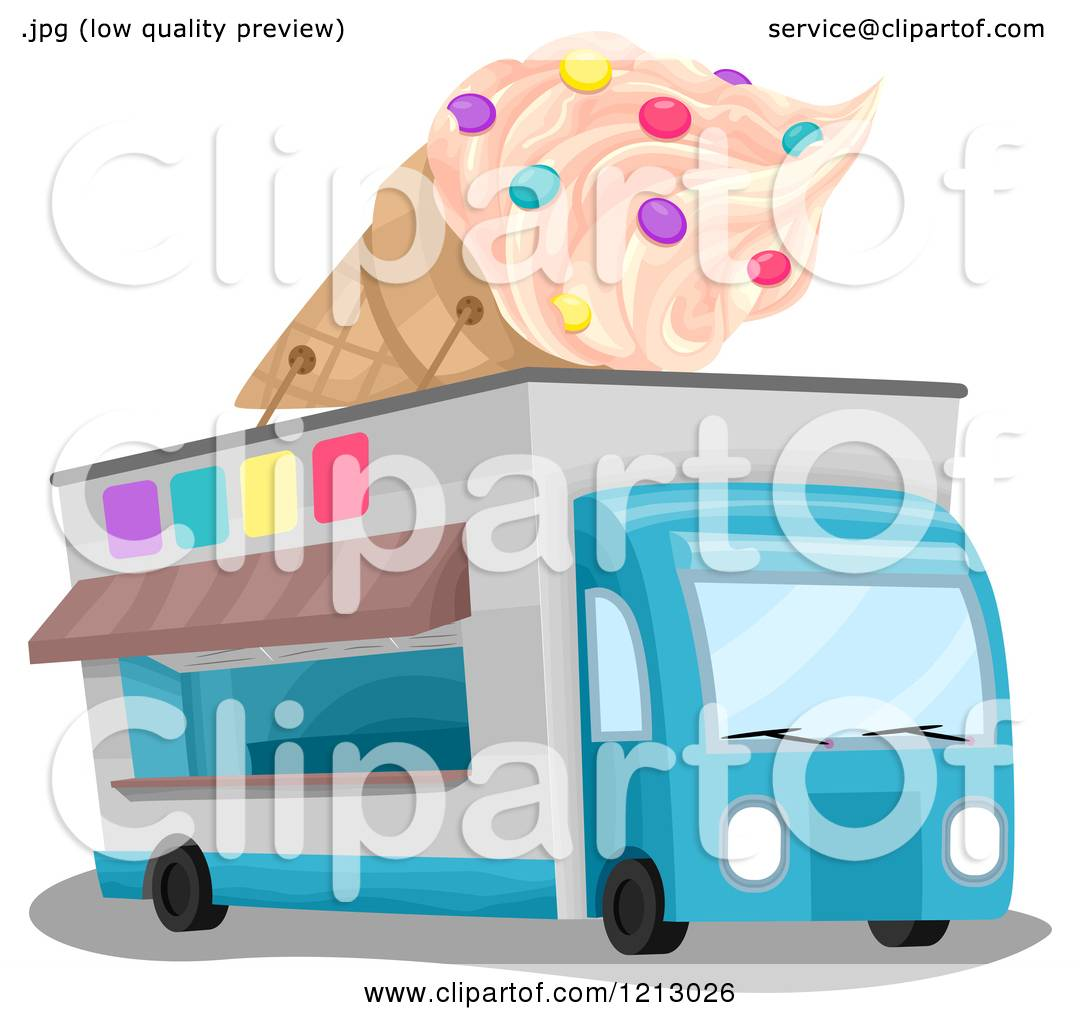 hight resolution of clipart of an ice cream truck with a giant cone on top royalty free vector