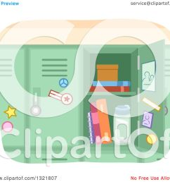 clipart of an open green school locker royalty free vector illustration by bnp design studio [ 1080 x 1024 Pixel ]