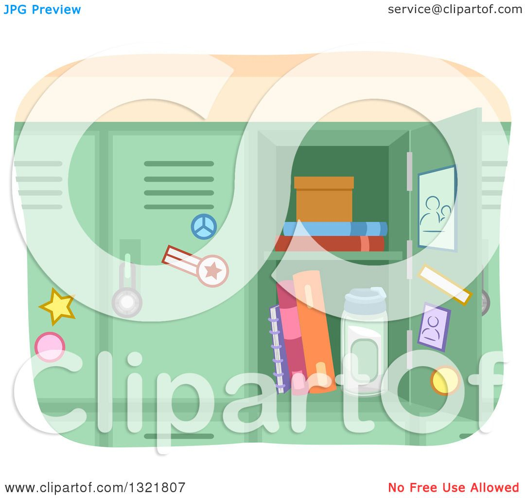 hight resolution of clipart of an open green school locker royalty free vector illustration by bnp design studio