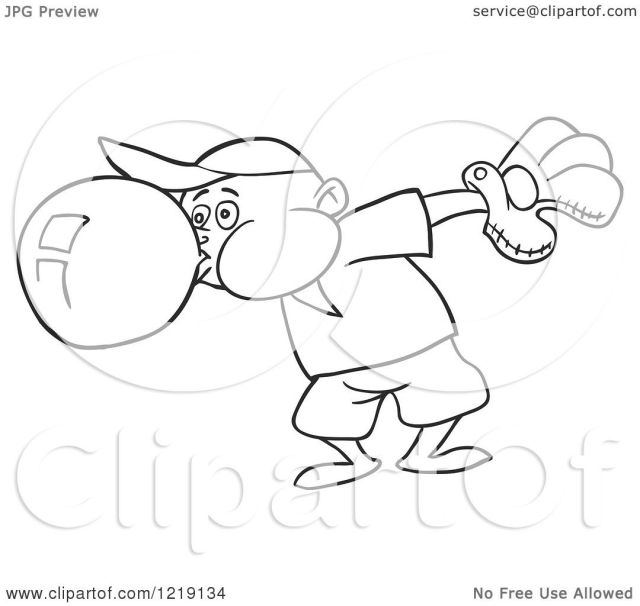 Clipart of an Outlined Baseball Boy Blowing Bubble Gum - Royalty