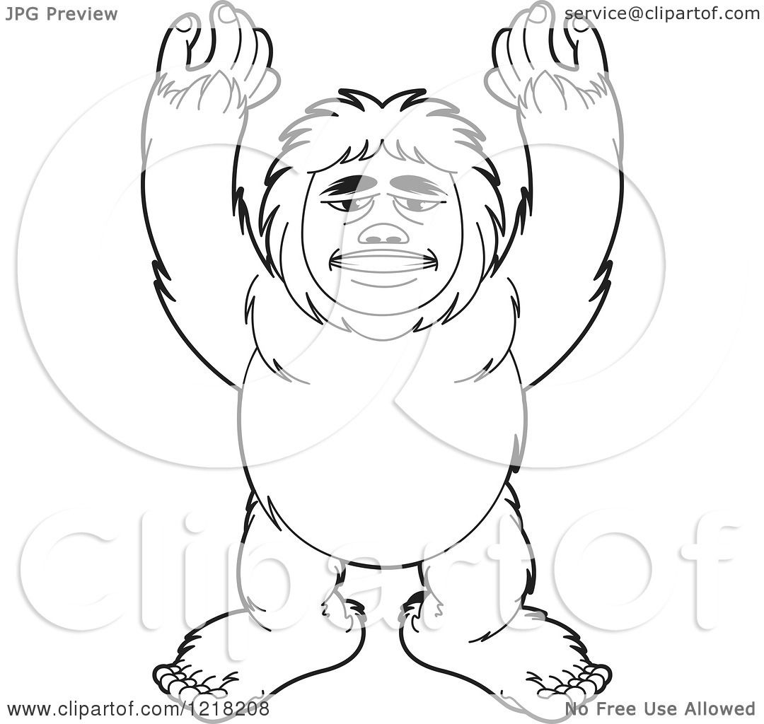 Clipart Of An Outlined Big Foot Holding His Arms Up