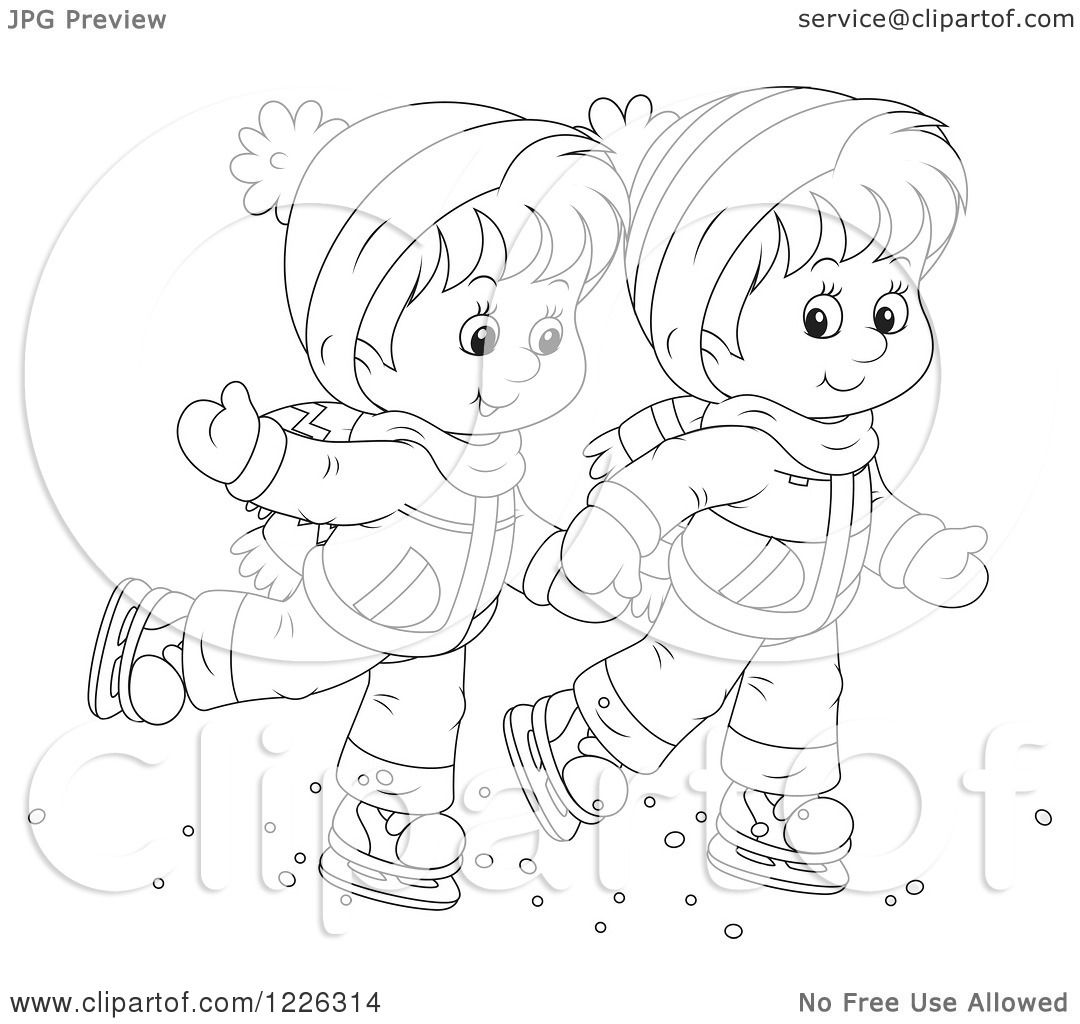 Clipart Of An Outlined Boy And Girl Holding Hands And Ice