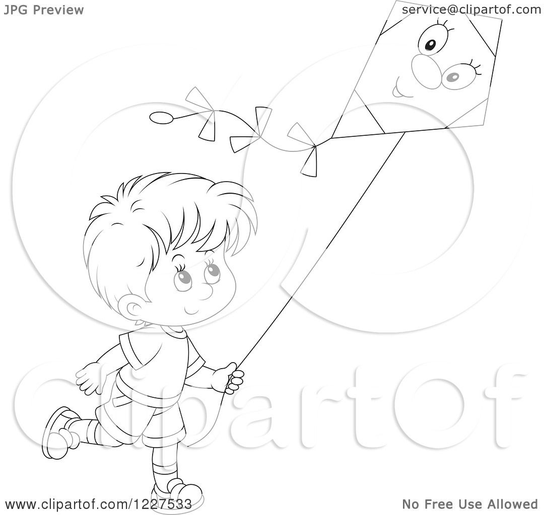 Clipart Of An Outlined Boy Flying A Kite