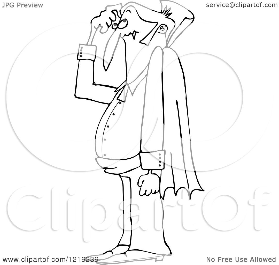 Clipart of an Outlined Confused Halloween Dracula Vampire