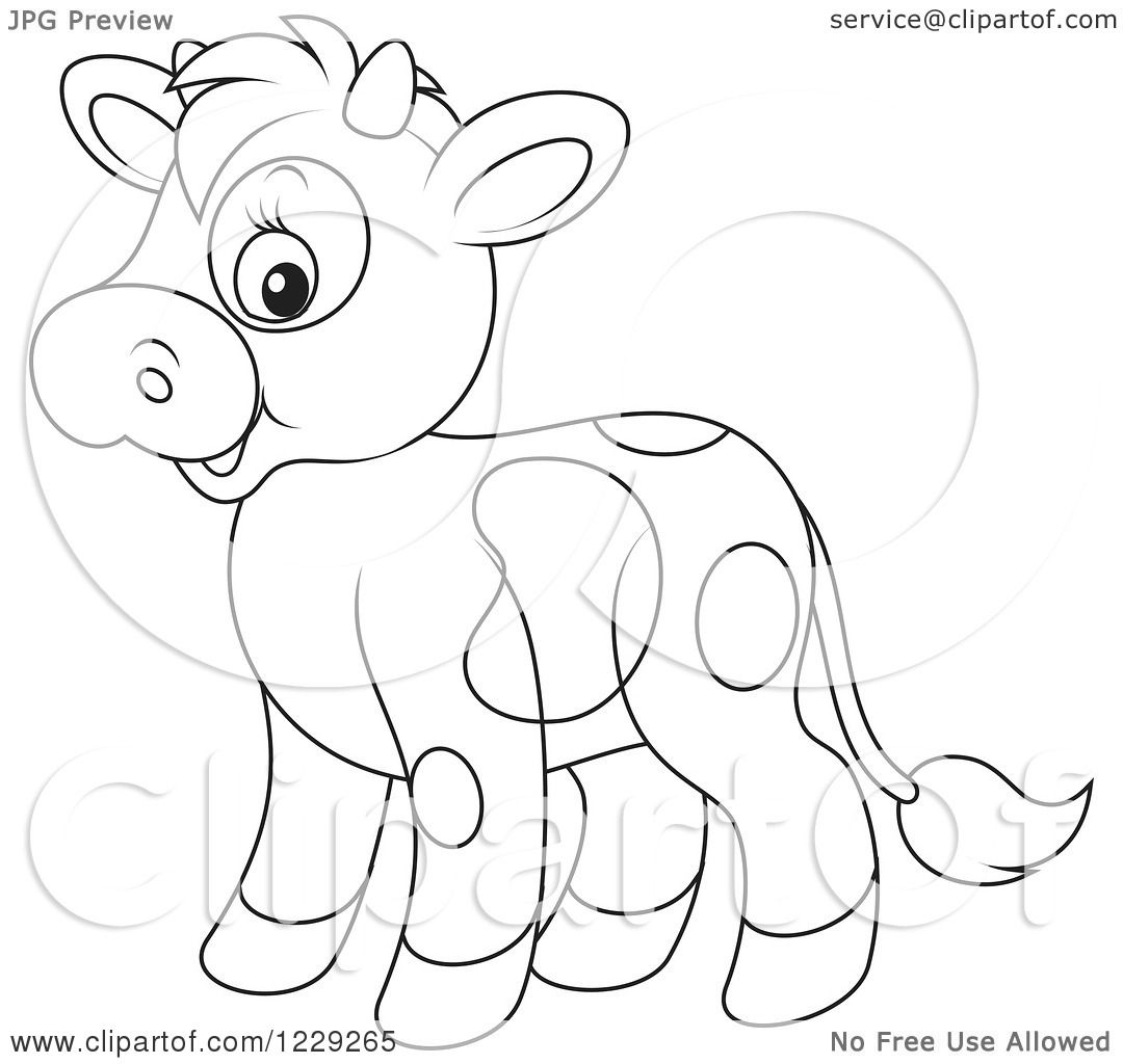 Clipart Of An Outlined Cute Cow