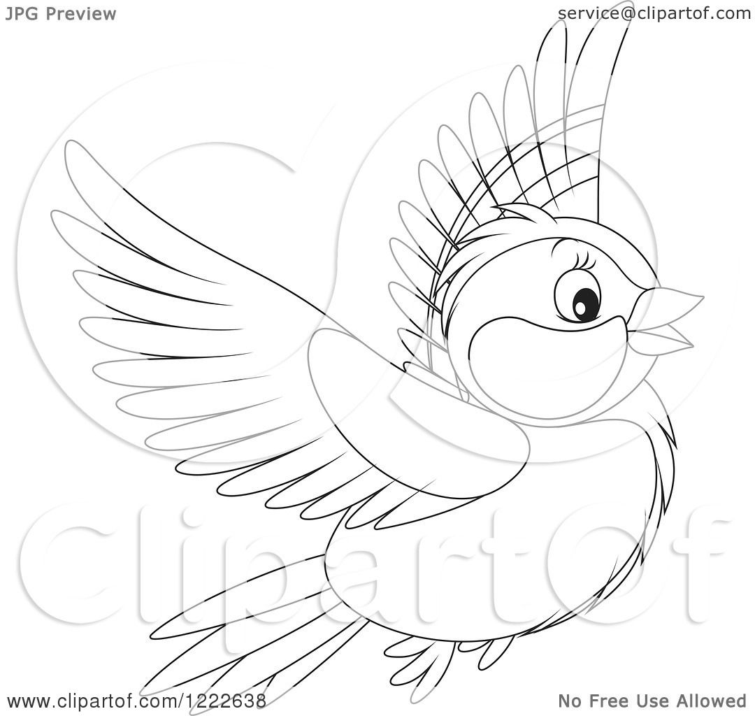 Clipart Of An Outlined Cute Titmouse Bird Flying