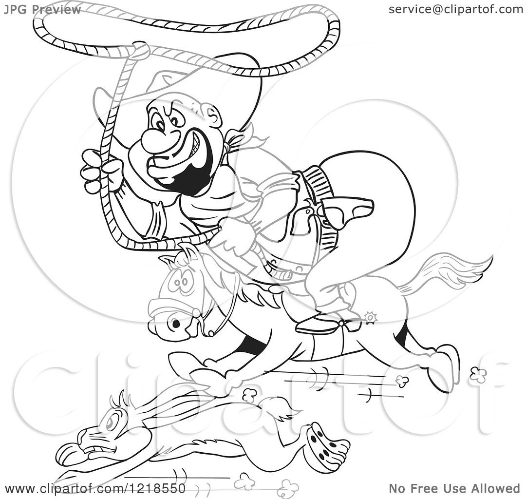 Clipart Of An Outlined Fat Horseback Cowboy Chasing A