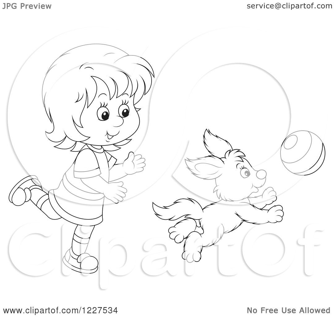 Clipart Of An Outlined Girl And Puppy Dog Playing With A