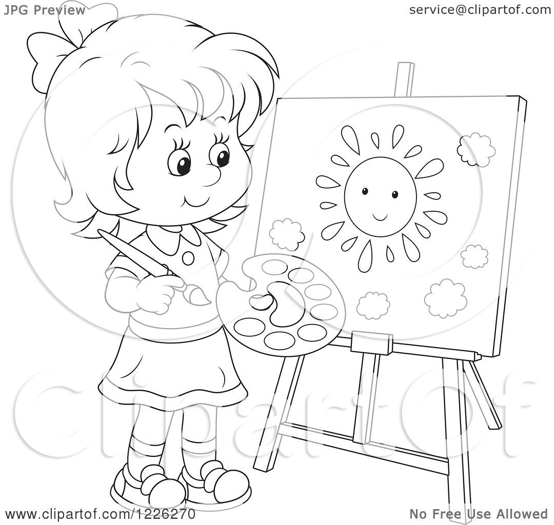 Clipart Of An Outlined Girl Painting A Sun On A Canvas