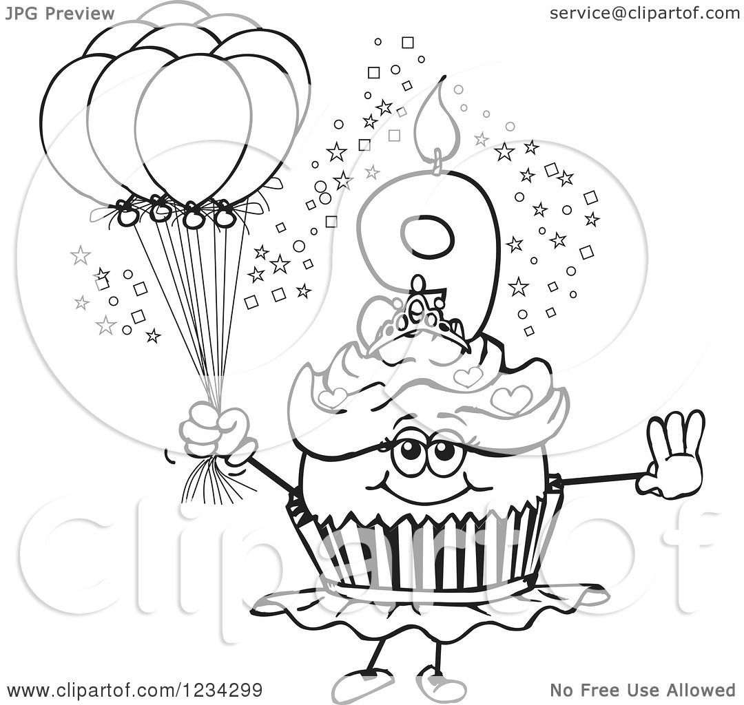 Clipart Of An Outlined Girls Ninth Birthday Ballerina