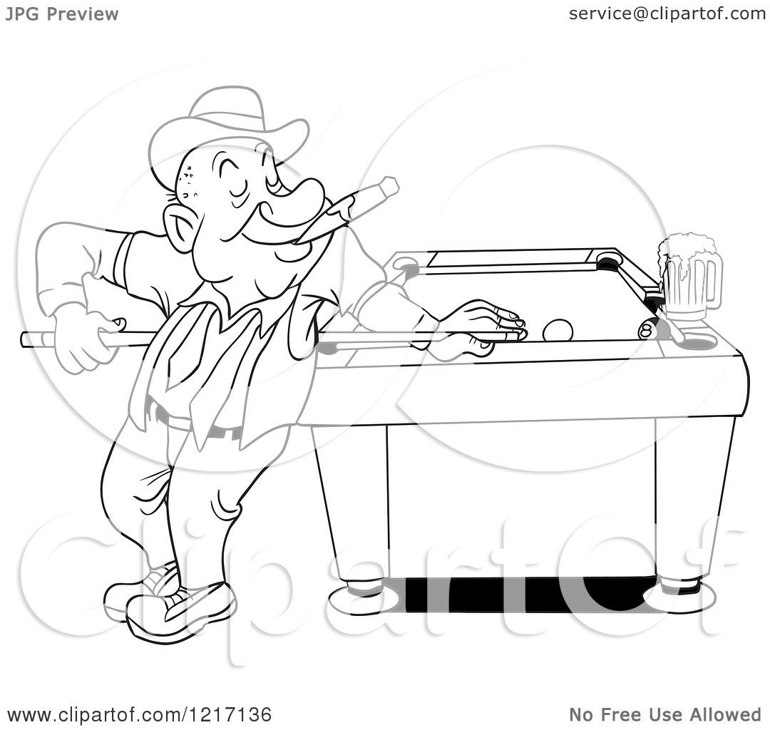 Clipart Of An Outlined Happy Man In A Derby Hat Smoking A