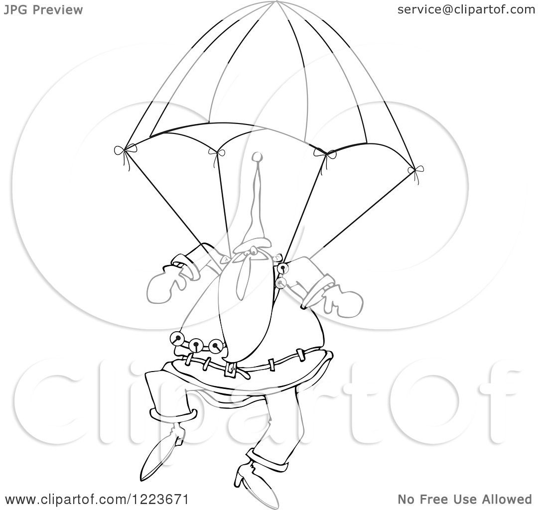 Clipart Of An Outlined Santa Descending With A Skydiving