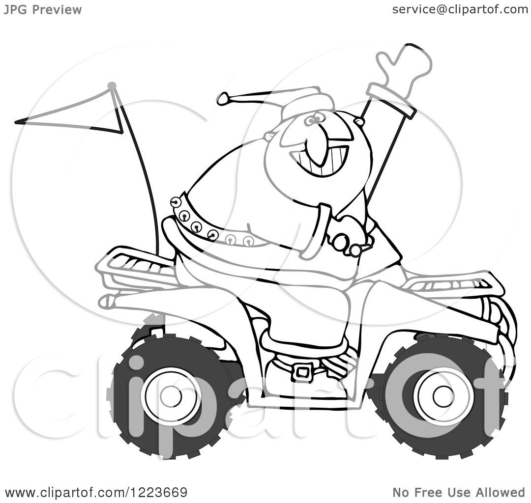 Clipart Of An Outlined Santa Waving And Driving An Atv Mud