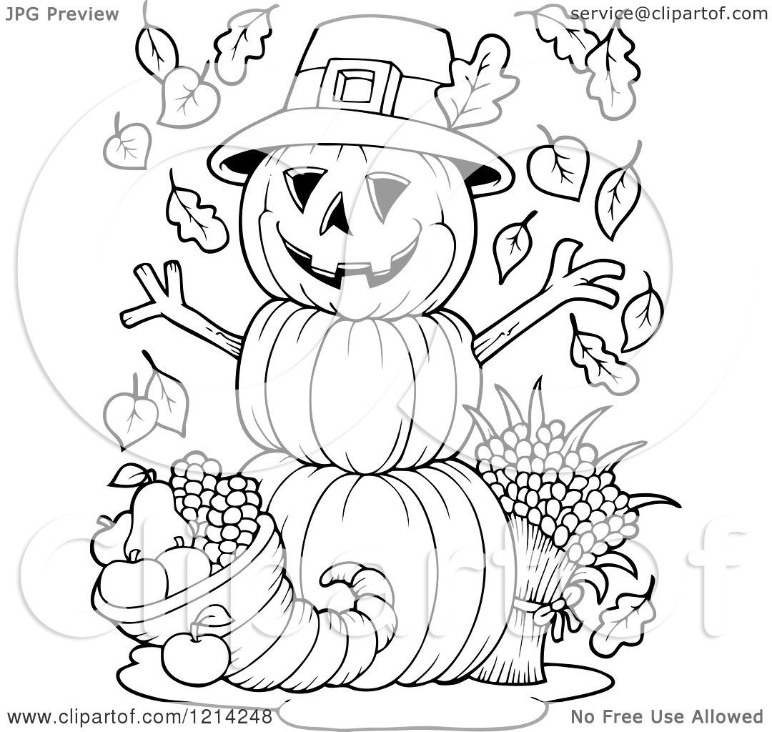 Clipart Of An Outlined Thanksgiving Pumpkin Man With A
