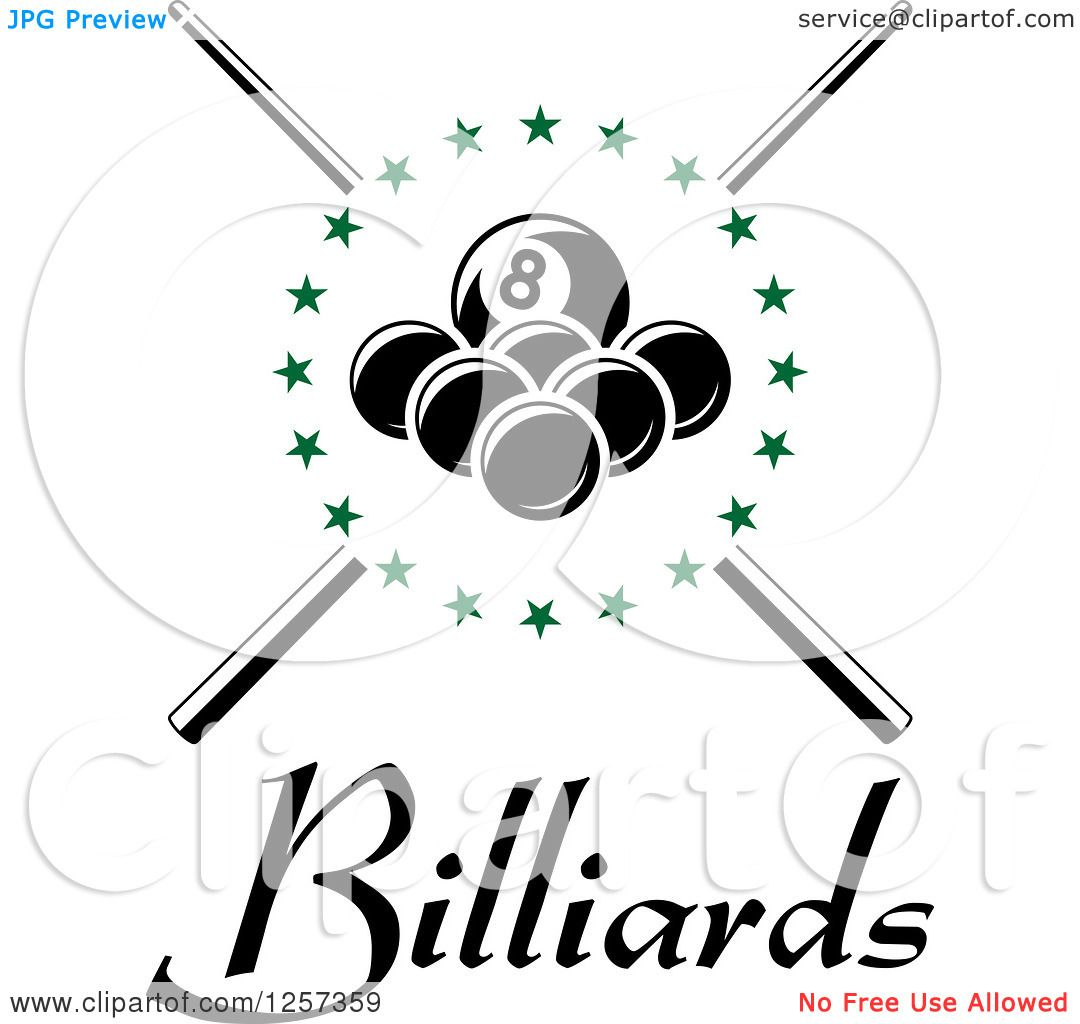 Clipart Of Billiards Balls In A Circle Of Green Stars Over