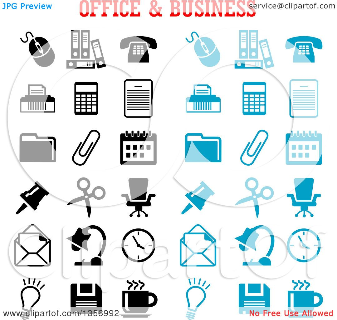 hight resolution of clipart of black and blue office and business icons royalty free vector illustration by vector
