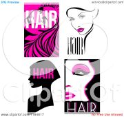 clipart of black and hot pink hair