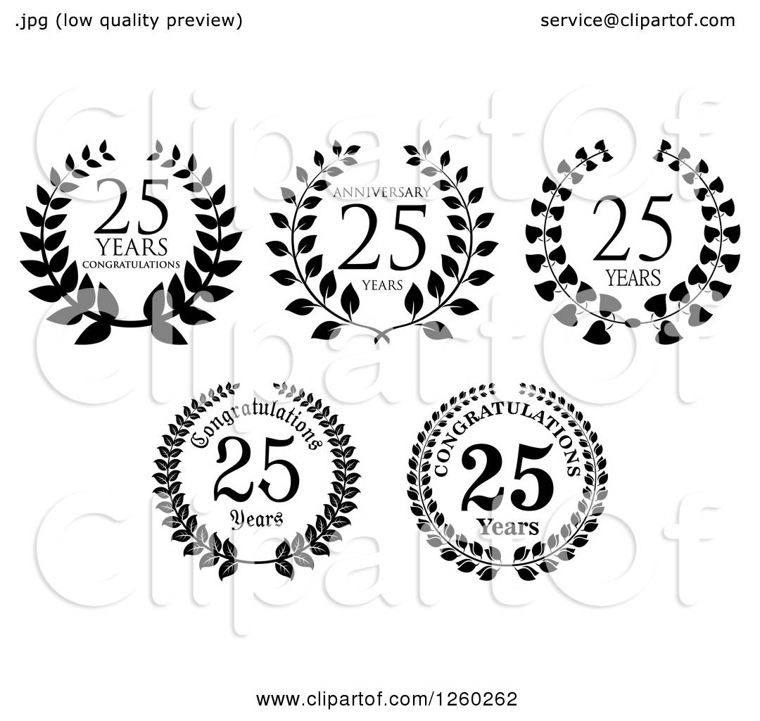Clipart of Black and White 25 Years Anniversary Designs