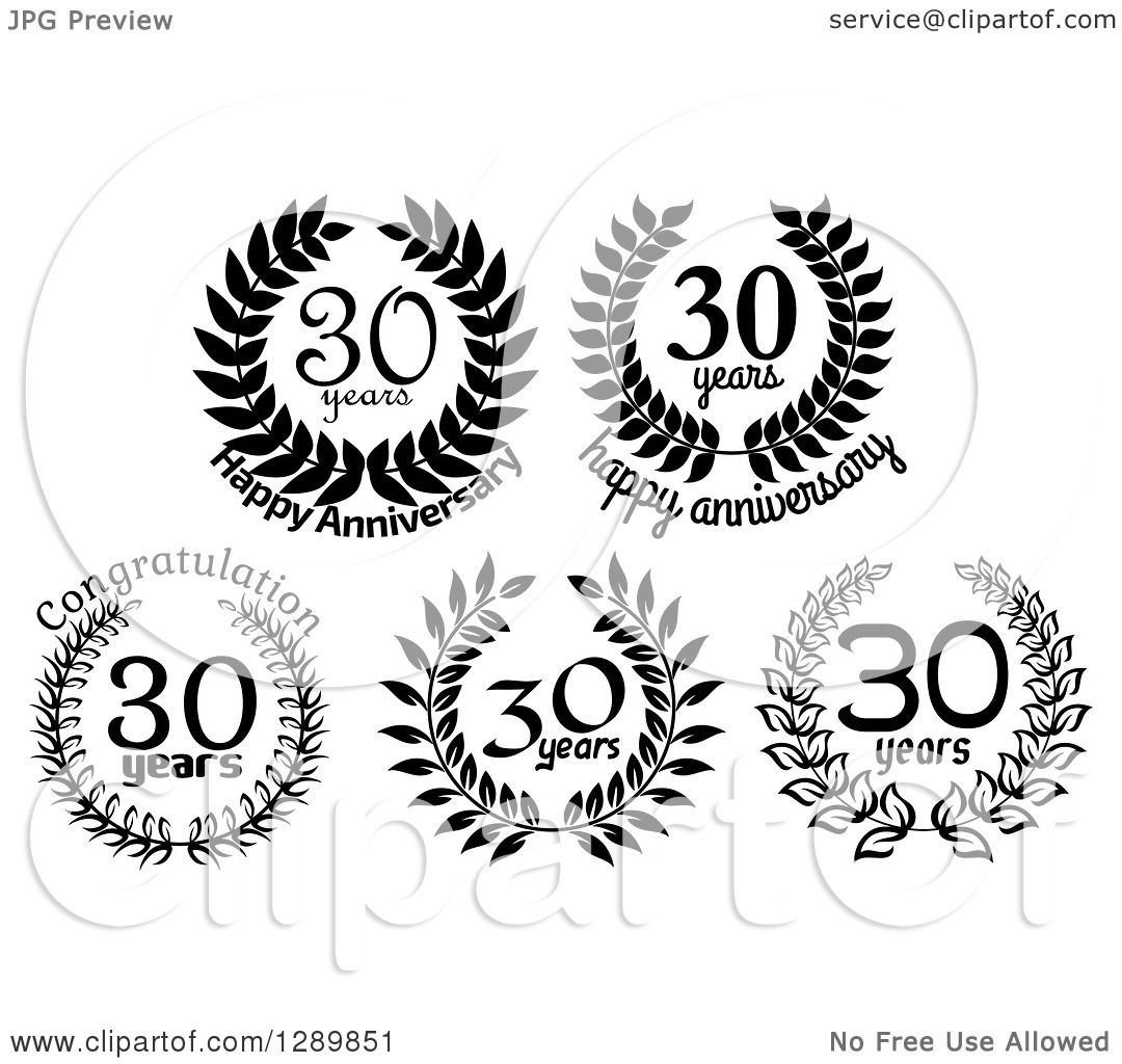 Clipart of Black and White 30 Year Anniversary Wreath