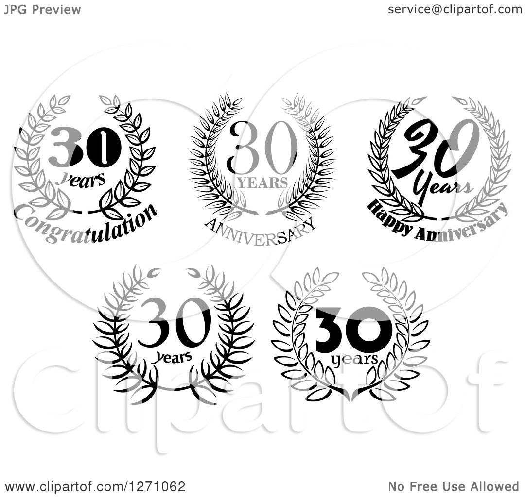 Clipart of Black and White 30 Years Laurel Wreath