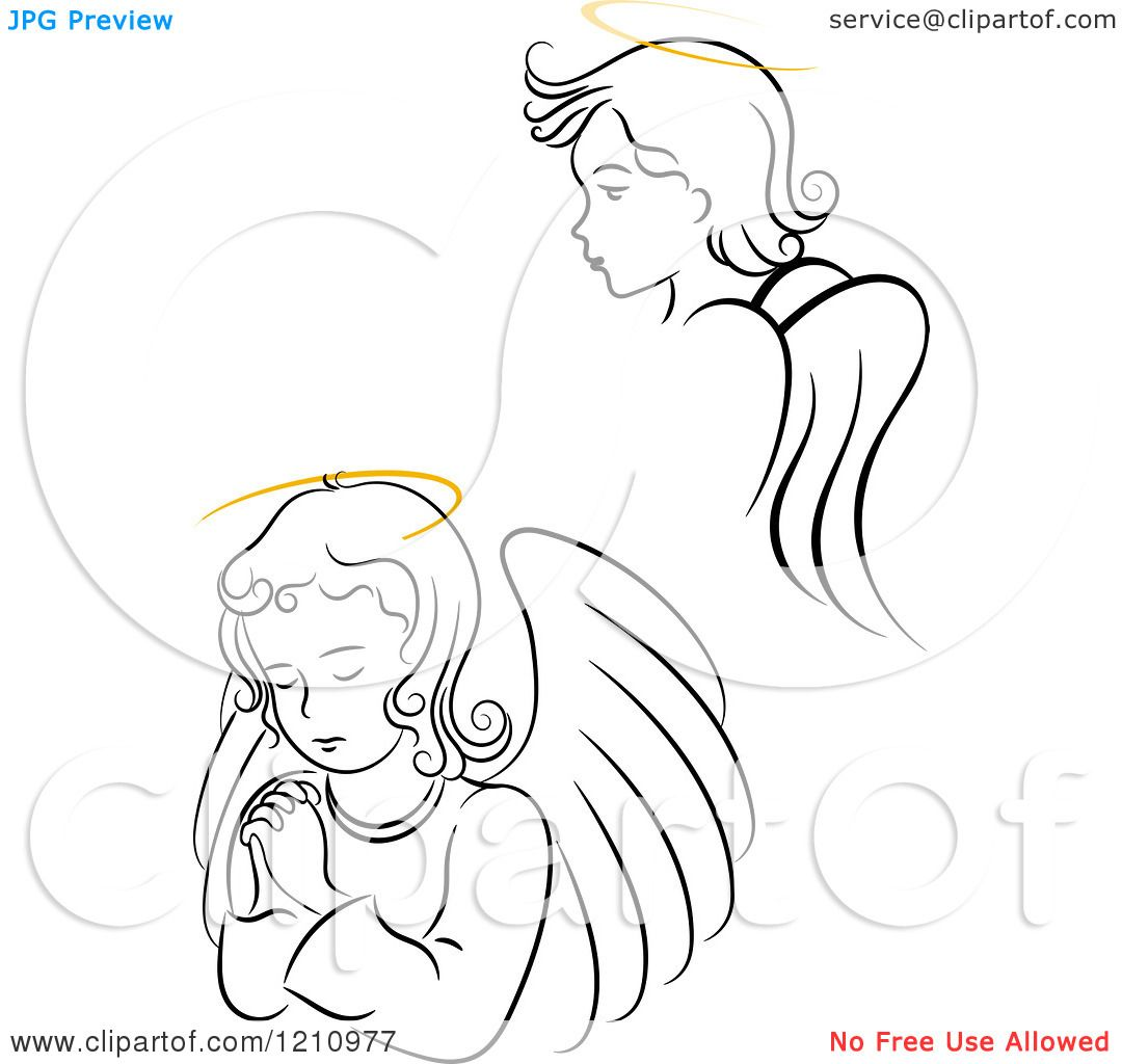 Clipart Of Black And White Angel Girls With Golden Halos
