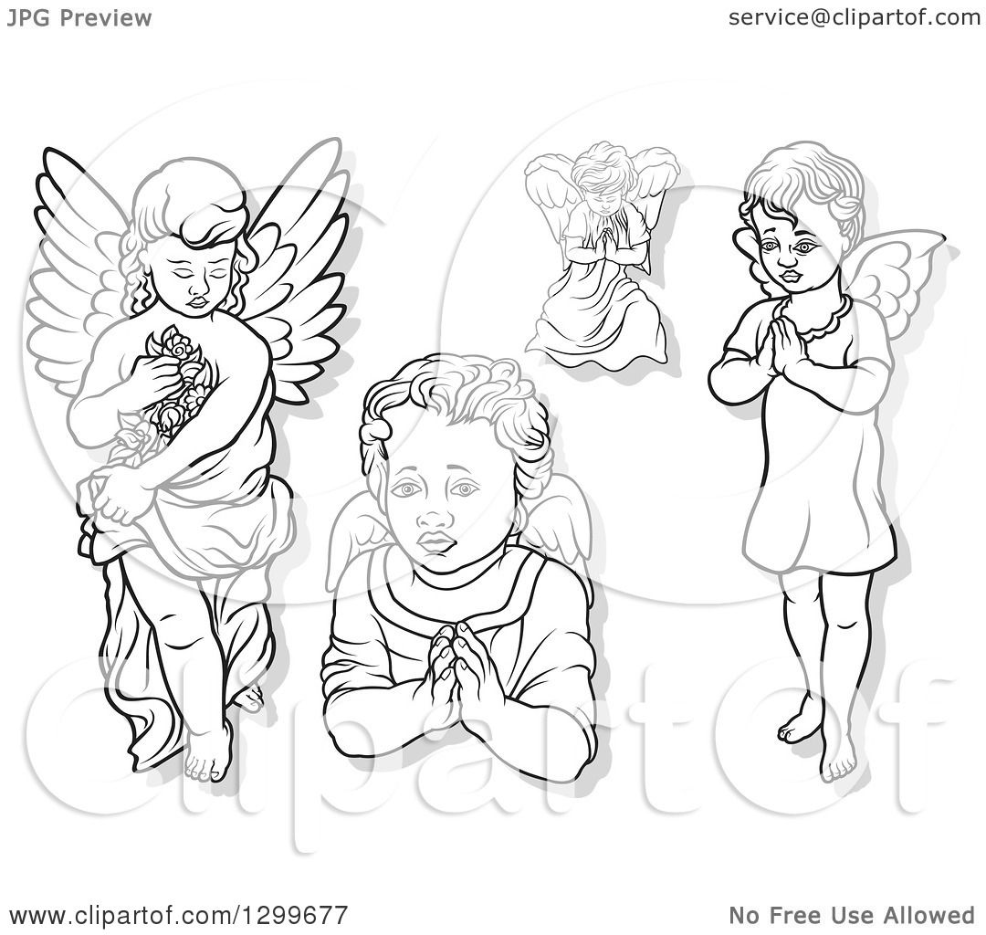 Clipart Of Black And White Angels Carrying Flowers And
