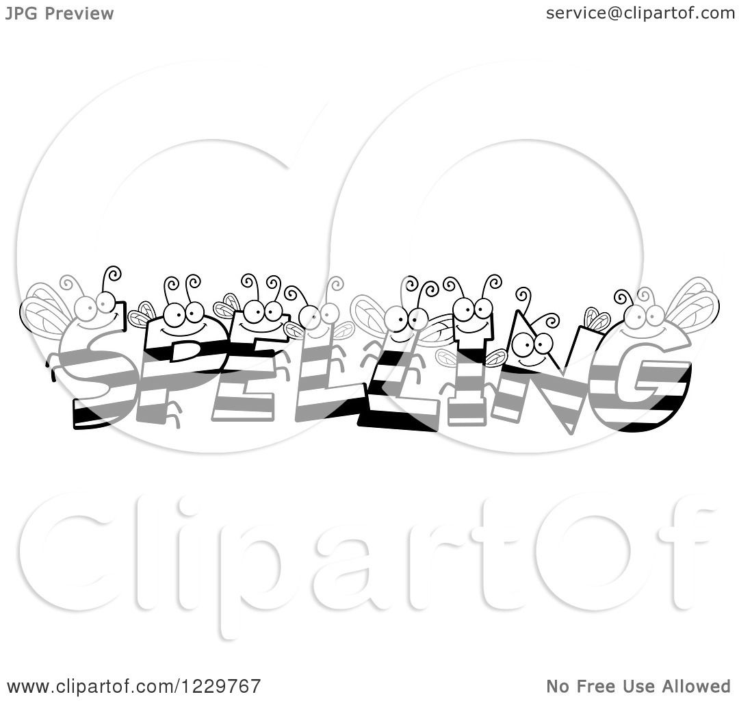 Clipart of Black and White Bee Letters Forming the Word