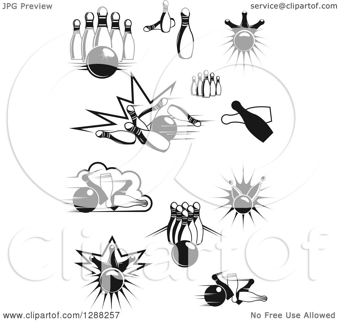 Clipart Of Black And White Bowling Balls And Pins