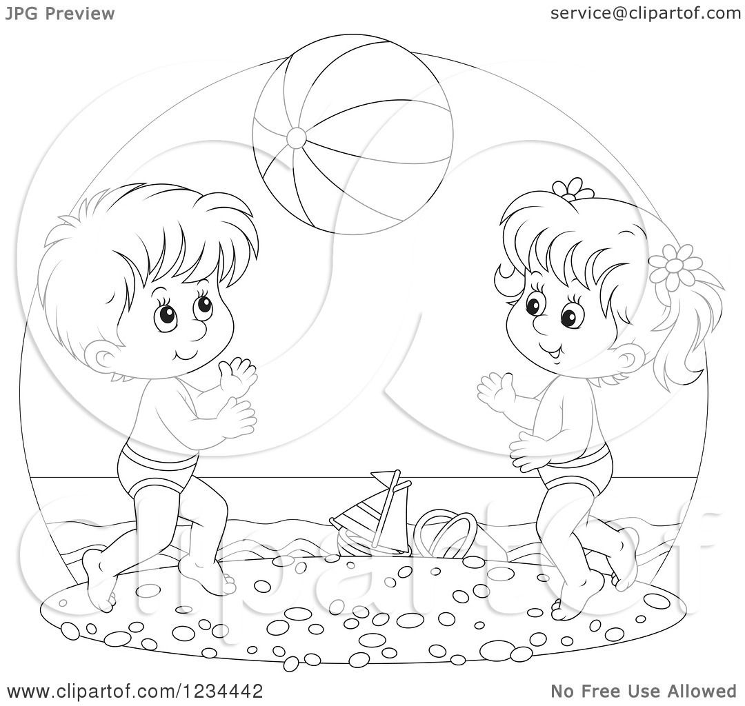 Clipart Of Black And White Children Playing With A Ball On