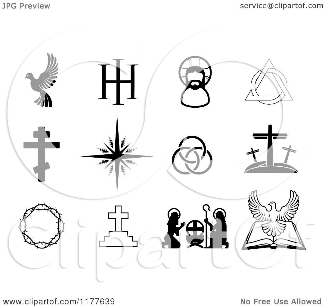 Clipart Of Black And White Christian Symbols