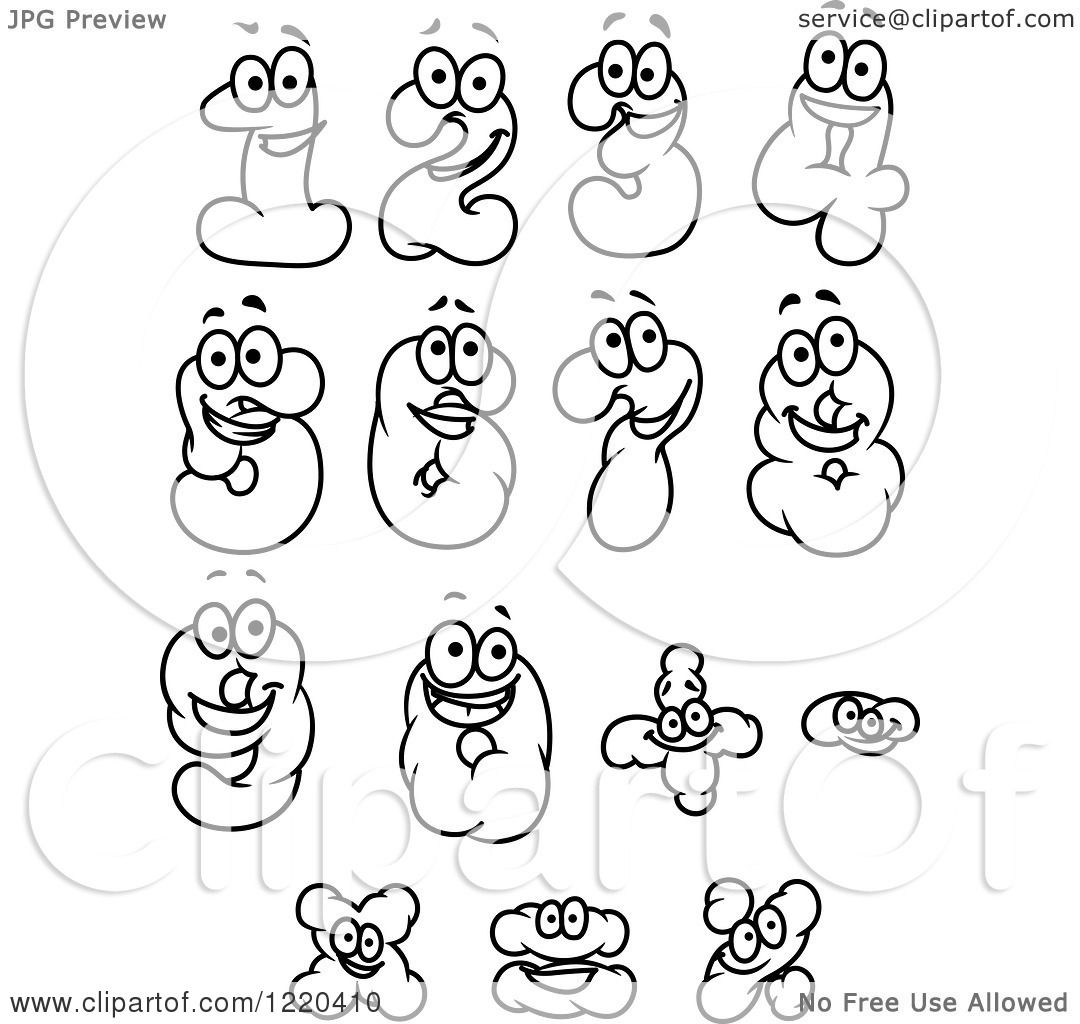 Clipart of Black and White Cloud Numbers and Math Symbols