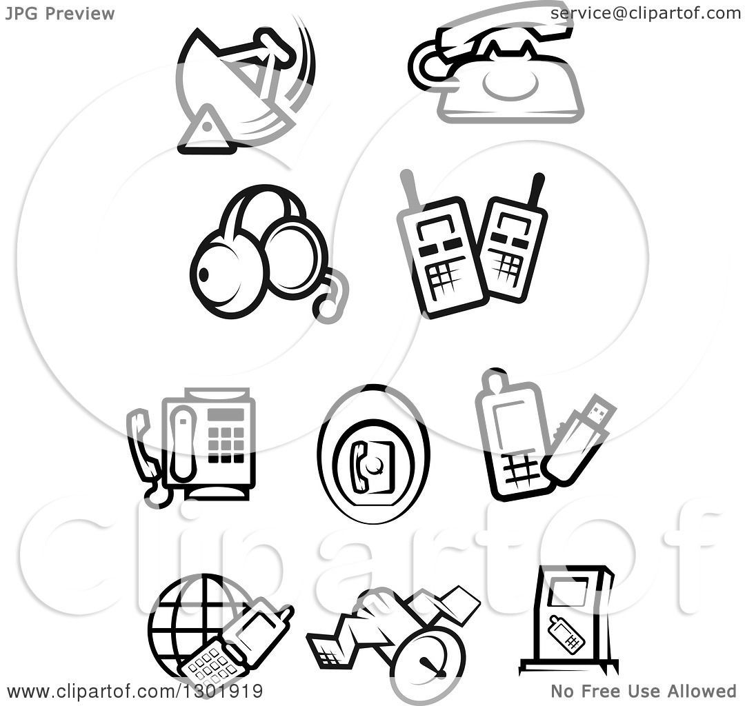 Clipart Of Black And White Communications Icons