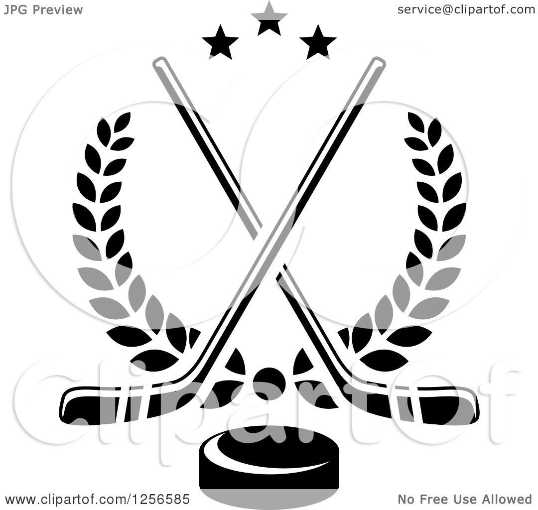 Clipart Of Black And White Crossed Ice Hockey Sticks And A