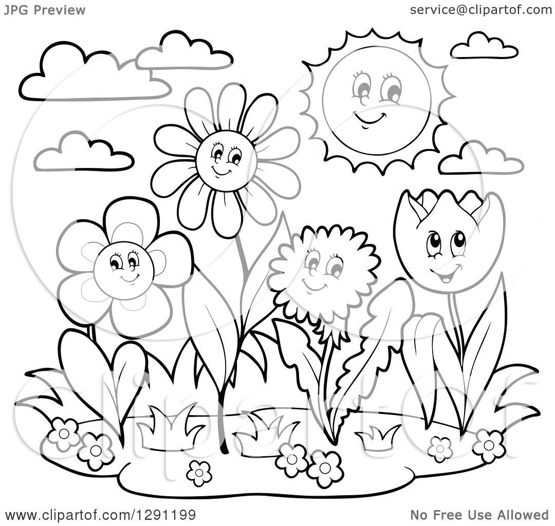 Clipart Of Black And White Group Of Happy Cartoon Flower