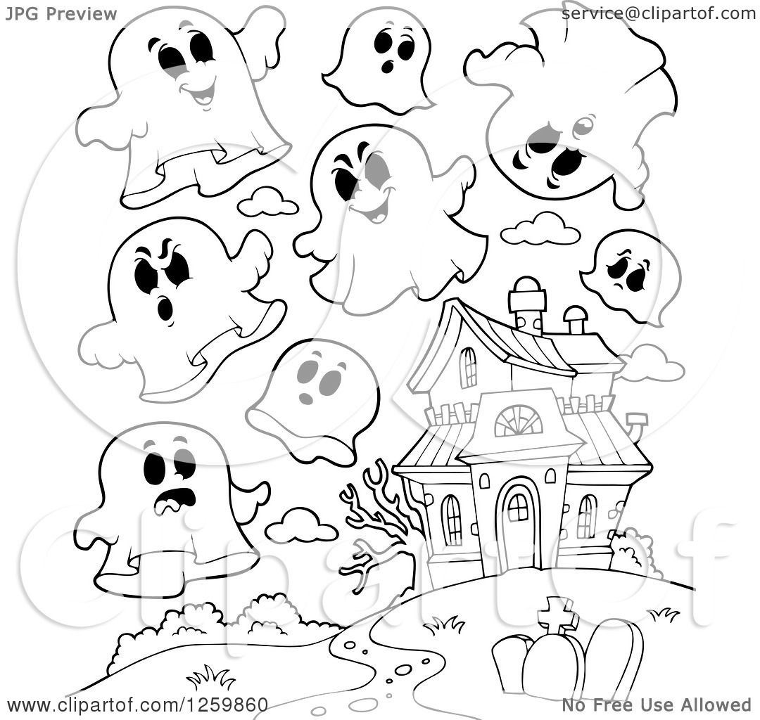 Clipart Of Black And White Halloween Ghosts Flying Around