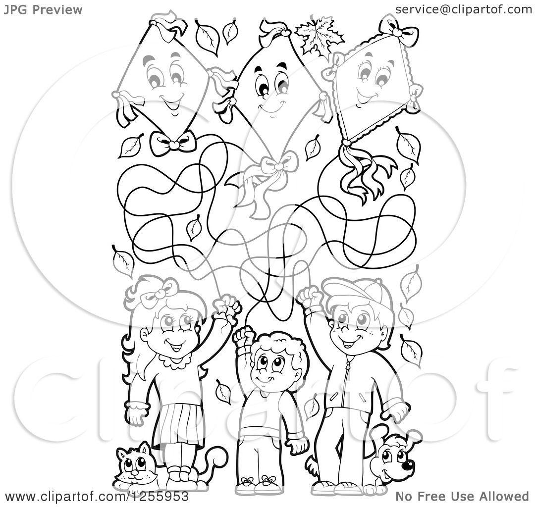 Clipart Of Black And White Happy Children Flying Kites
