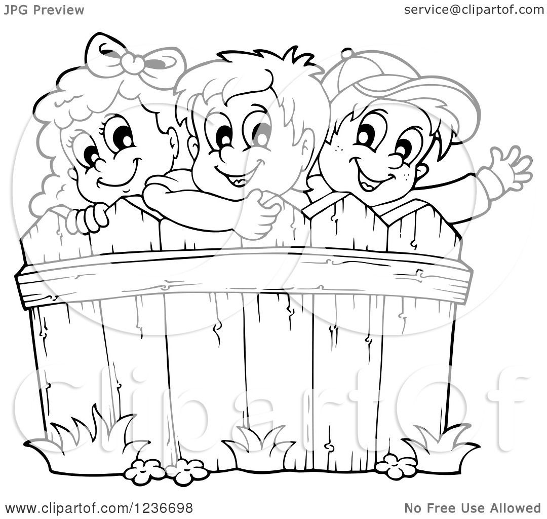 Clipart Of Black And White Happy Children Looking Over A Wooden Fence