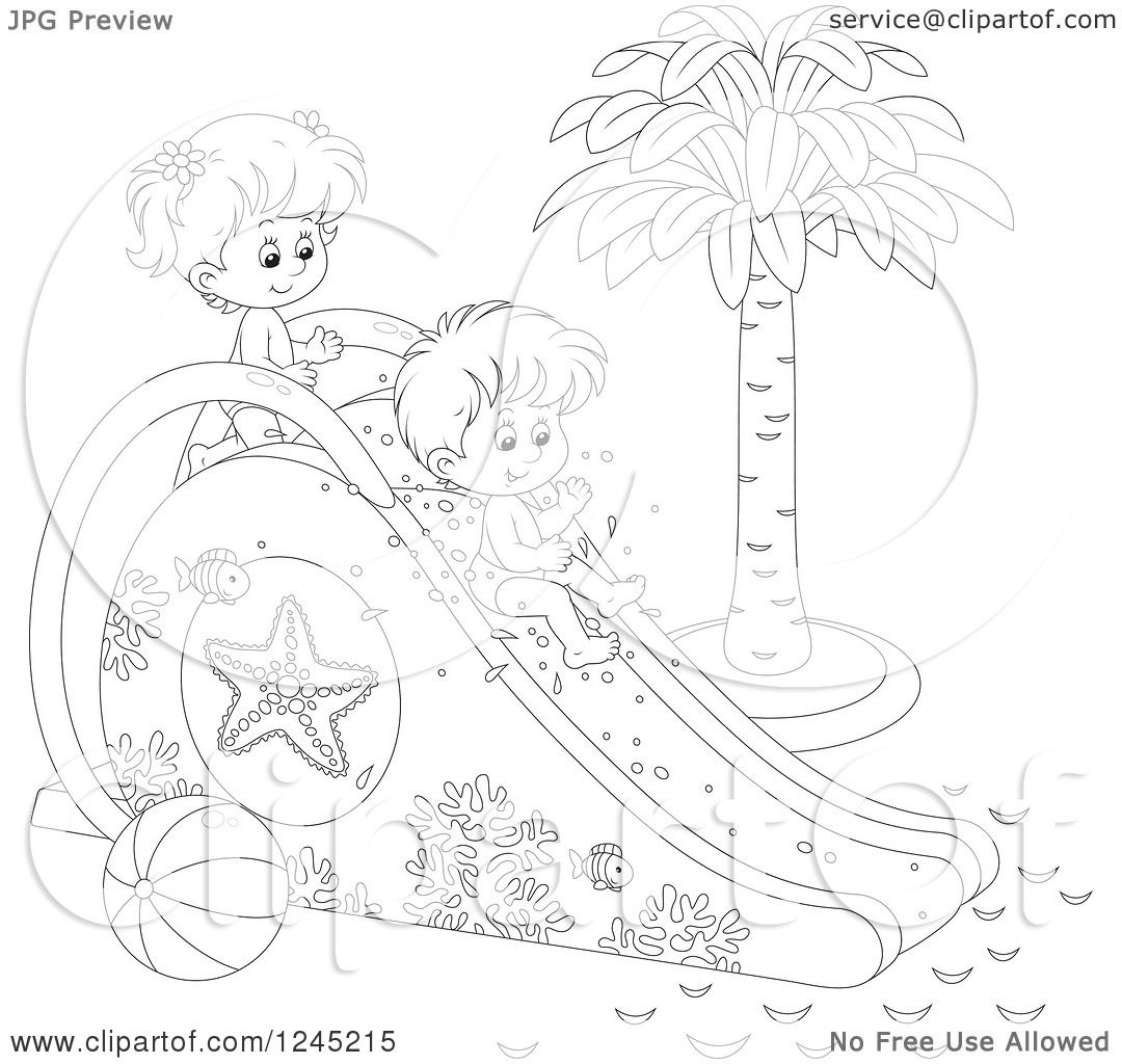 Clipart Of Black And White Happy Children Playing On A