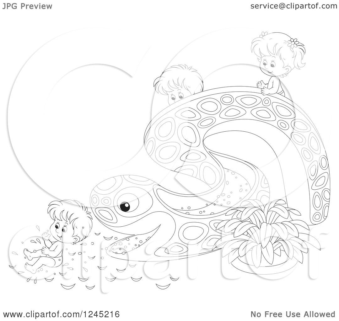 hight resolution of clipart of black and white happy children playing on an eel or snake water slide royalty free vector illustration by alex bannykh