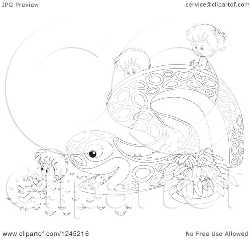small resolution of clipart of black and white happy children playing on an eel or snake water slide royalty free vector illustration by alex bannykh