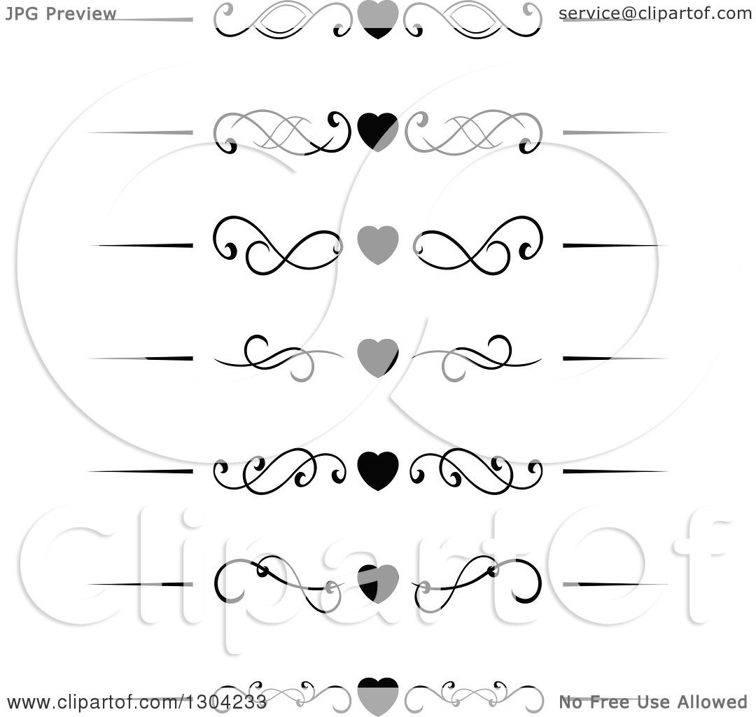 Clipart Of Black And White Heart And Swirl Border Rule