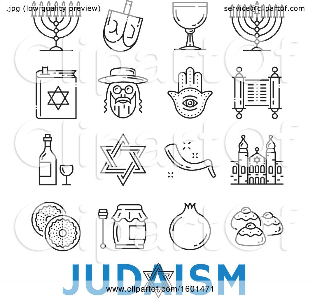 Clipart Of Black And White Judaism Icons