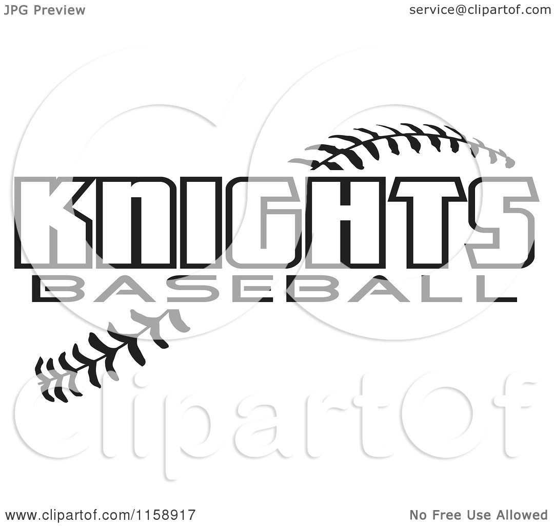 Clipart Of Black And White Knights Baseball Text Over