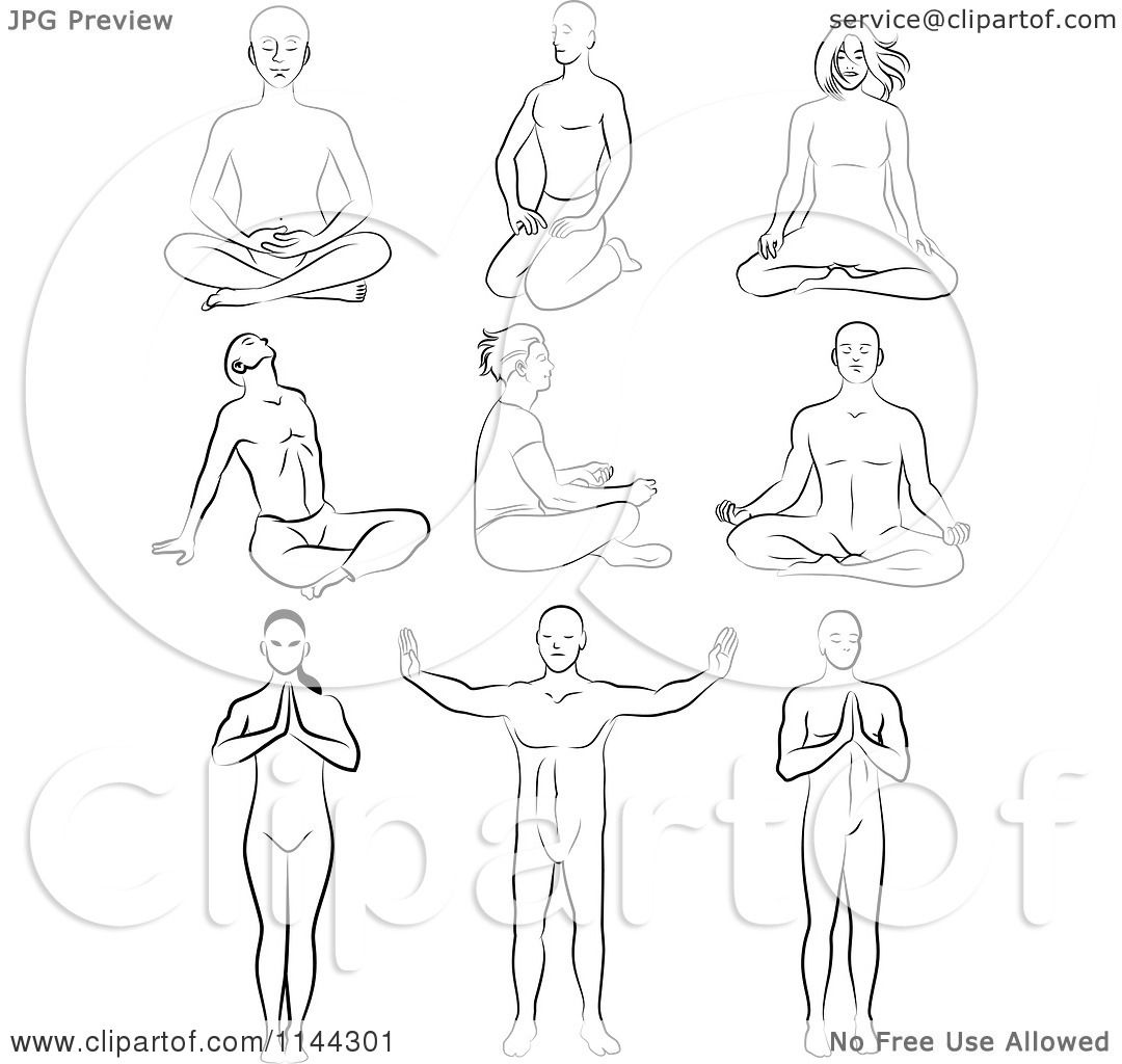 Clipart of Black and White Line Drawings of Men and Women