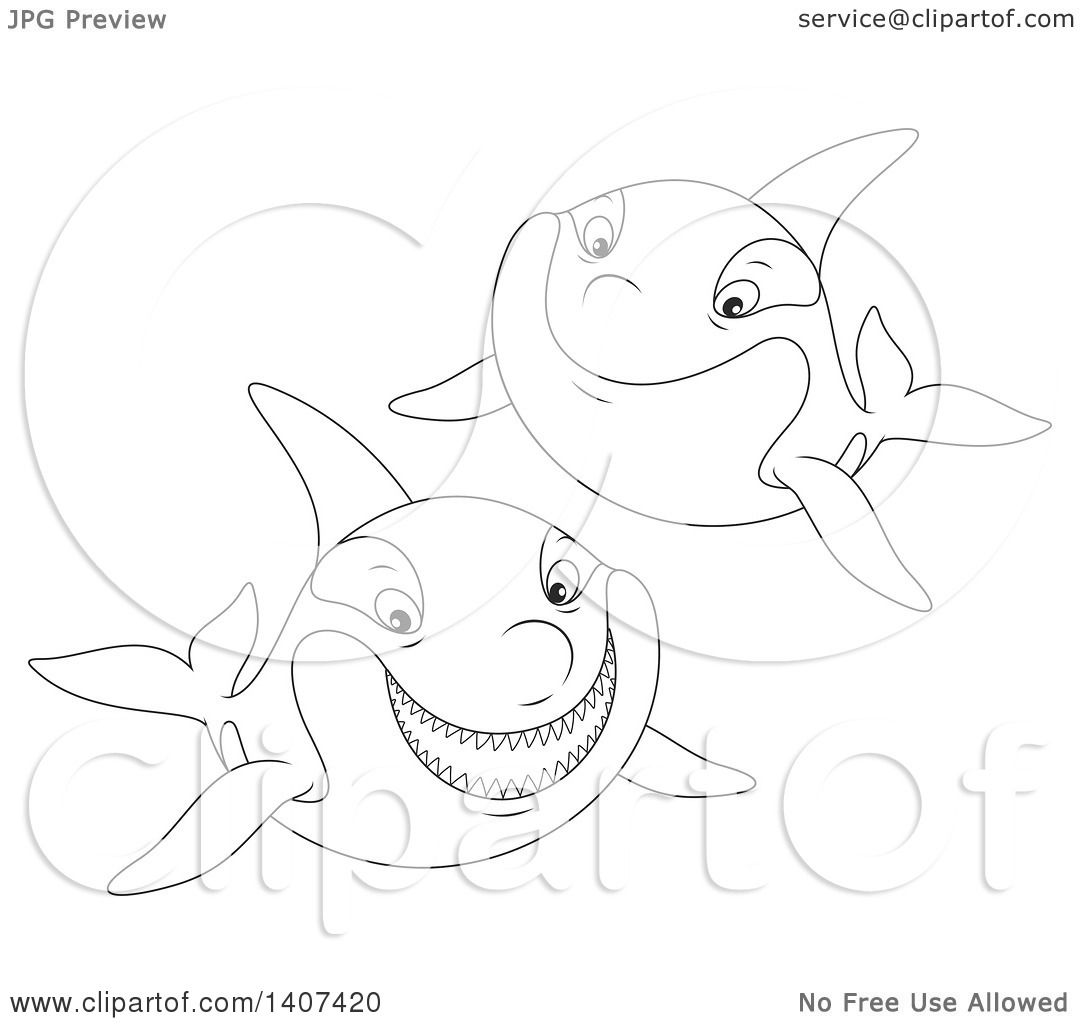 Clipart Of Black And White Lineart Killer Whale Orcas